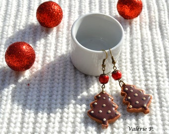 Earrings small biscuits Fimo polymer clay Christmas chocolate Christmas trees