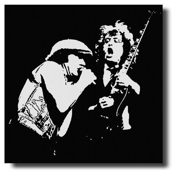 ANGUS YOUNG BRIAN JOHNSON Various Sizes ACDC LIVE Canvas Wall Art  Print
