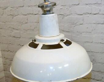 3 available 1950s Benjamin industrial pendant lamps light enamel antique vintage pendant metal factory old restaurant cafe