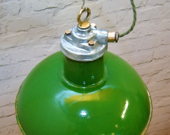 Stunning 1950s Revo industrial pendant lamps light enamel antique vintage pendant metal factory old restaurant cafe