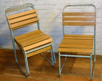Chairs OLD SCHOOL STACKING CHAIRS VINTAGE RETRO STACKABLE SEATING SLATTED WOODEN CHAIR Antique Furniture