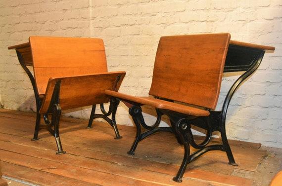 School Desk Chair Antique Bench Wooden Kitchen Childs Metal Vintage Children Table Seating Industrial Bedroom