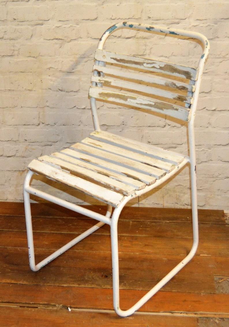 Chaise Bois Et Metal Industriel salle lattes rétro À en manger chaises empilage tubulaire