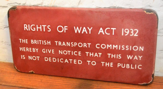 Midland single sided British railway Right of Way act enamel sign  railwayana rail vintage antique metal decor mancave