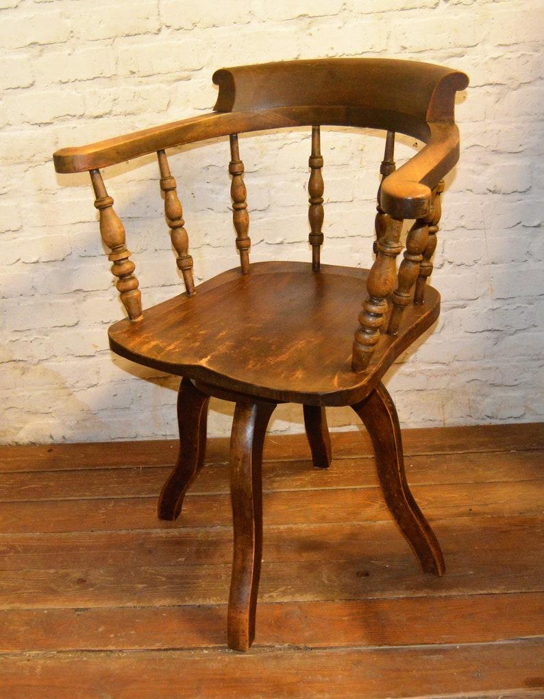 Awesome Antique Elm Captains Swivel Office Chair Wooden Desk Vintage Industrial Seating Kitchen Retro Armchair Machost Co Dining Chair Design Ideas Machostcouk