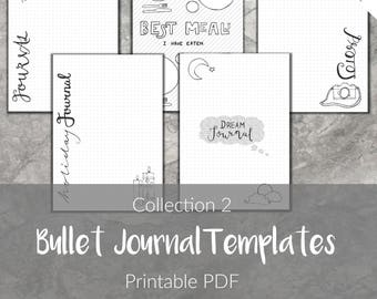 Bullet Journal Templates   Printable Collections Pages   Selection   Planner Insert   Instant download   2018   Refill page   Digital   Bujo
