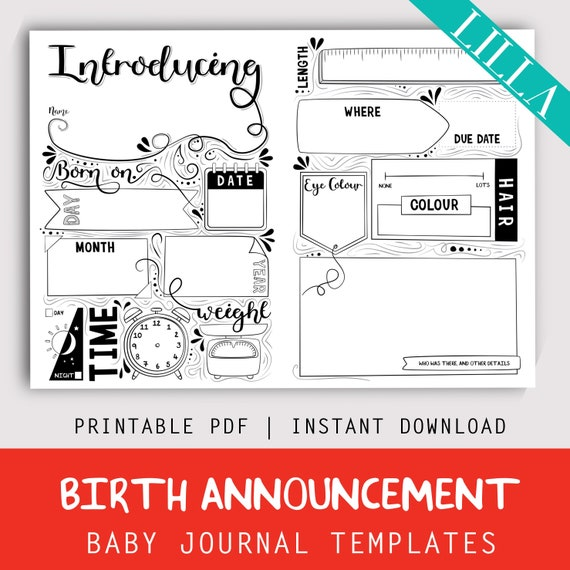 Printable Birth Announcement Baby Memory Book Template Instant Digital Download Same Sex Gay Lesbian Adopted Single Parent