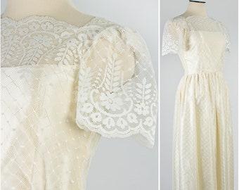 f2fdf054cde Rockabilly Ivory Lace and Satin 1960s Wedding Dress