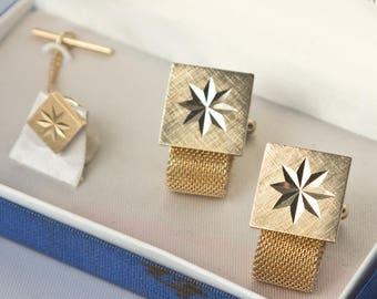 Vintage Goldtone Starburst Cufflink and Tie Tack Set by Tradition