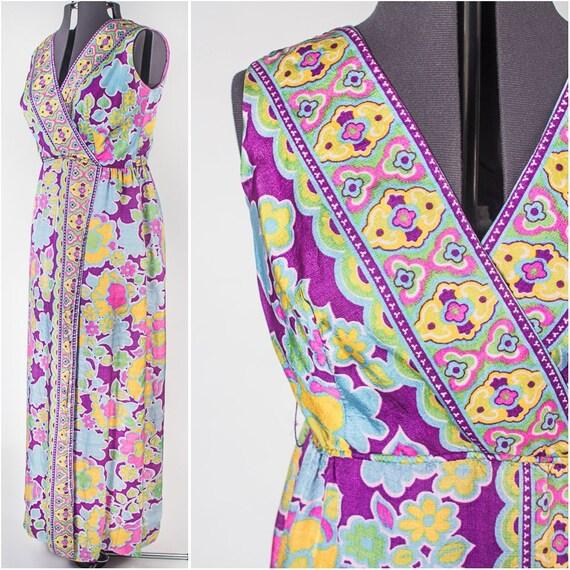Long 70's Flower Power Hostess Split Skirt Dress