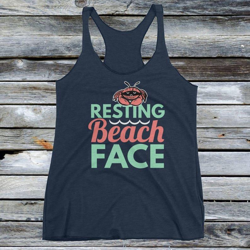 5b91ebedf3 Women's Resting Beach Face Tank Top Shirt Girl's   Etsy