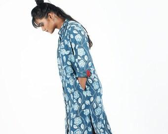 Indigo Floral Shirt Dress