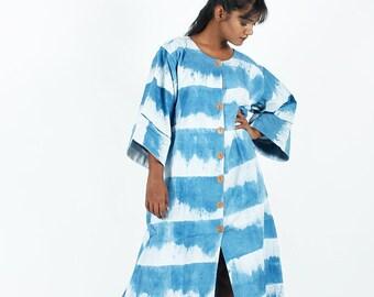 White Indigo Striped Dress