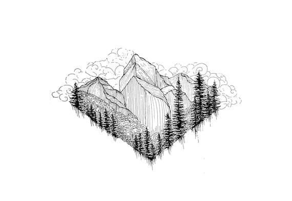 black and white prints wall art glacier drawing etsy