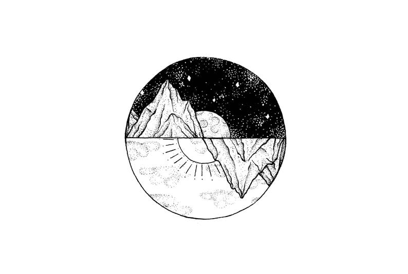 Sun and Moon Wall Art Pen Design Drawing Illustration  481346c1d777