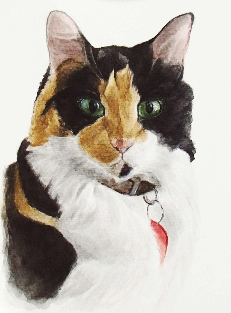 Watercolor cat painting from photo Custom cat portrait Original cat painting Memorial cat art Custom pet portrait Cat drawing