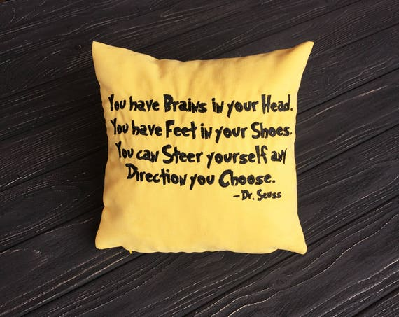 Quote Dr Seuss Pillow Covers Quotes You Have Brains In Your Etsy Classy Pillow That Covers Your Head