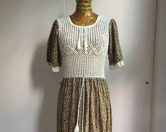 1970's Crochet and Floral Maxi Dress