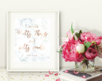Kate Spade Printable Wall Art, Marble & Rose Gold, I Adore Pretty Things and Witty Words, Kate Spade-inspired, Office Decor, 8x10
