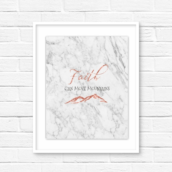 Faith Can Move Mountains Marble Rose Gold Printable Wall Etsy