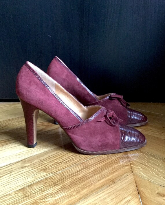 pretty cheap enjoy discount price 2019 clearance sale Vintage leather shoes suede and Burgundy reptile heels tops/made in Italy,  100% leather SHALAKO, size 40 UK 7 US 9/brand new, never worn