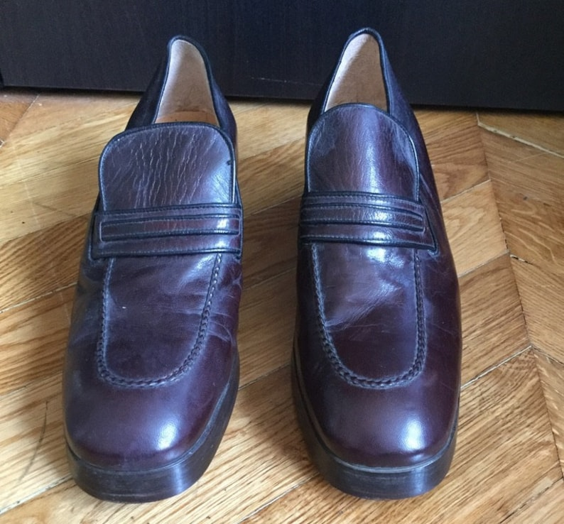 58841e964adfa New / loafers men vintage brown leather with heel /fabrication  Italian/Rolls/EU size US 9.5 UK 8.5 42.5