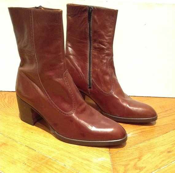 aacdbf5d9fa7c New / boots men vintage brown leather with heel /fabrication Italian  Dodoni/size EU 42 US 9 UK 8
