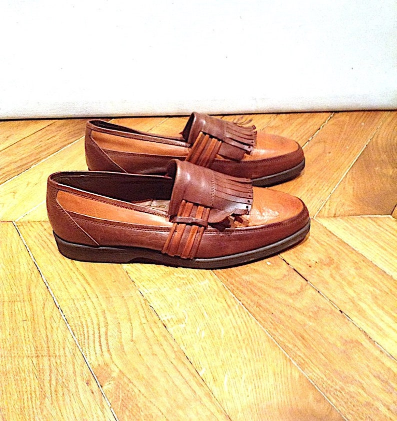 021828a7c13e0 New / loafers men's vintage Leather Brown and cognac /fabrication Italian  Shalako/size EU 42 US 9 UK 8