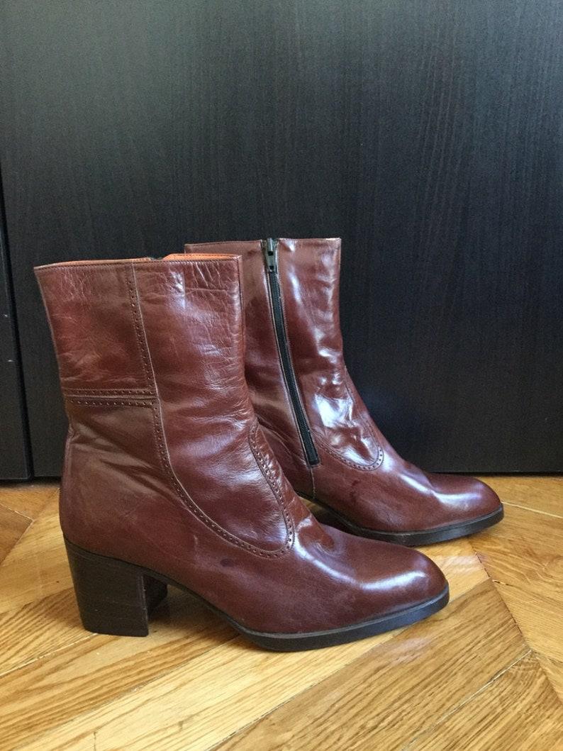 c74ec96b7b724 New / boots men vintage brown leather with heel /fabrication  Italian/Dodoni/EU size US 9.5 UK 8.5 42.5