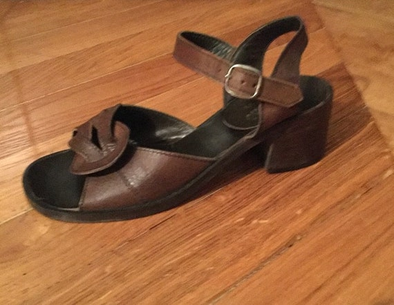 2b436fd9fddcb 70s Sandals leather brown ones SHALAKO/heels/made in Italy/new/size 36 / UK  3 US 5