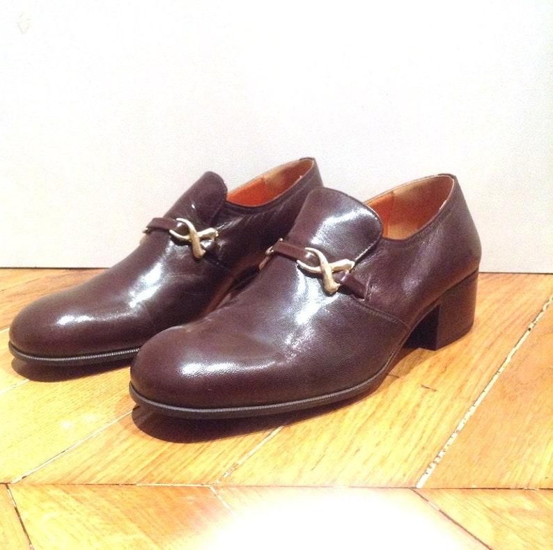 c2e0c5eb97fe3 New / round toe loafers brown soft leather - 100% leather /fabrication  Italian/Shalako/vintage size 9.5 EU 39.5 US 6.5 UK 5.5