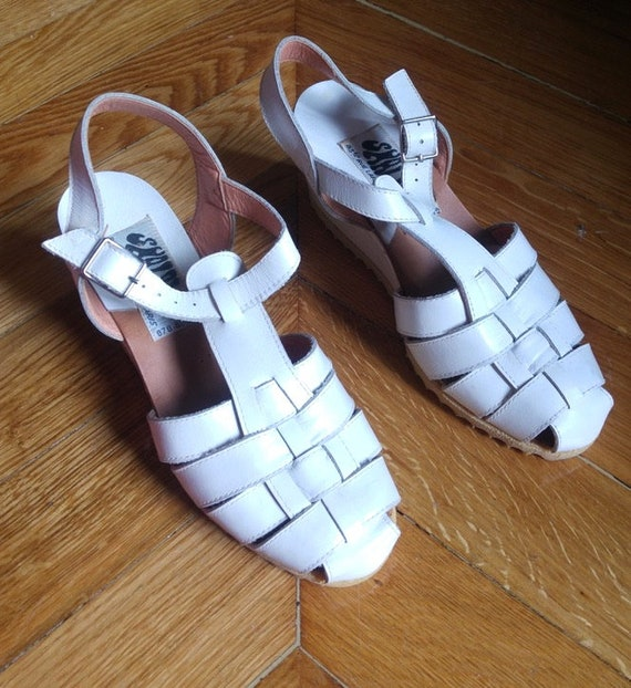 7ae4b887ce286 new / Blanc/100% leather leather wedge Sandals / years 70/made in Italy /  size US 3 1/Shalako UK 34 EU