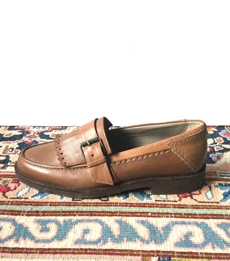 42fb120802199 Loafers men vintage brown leather - new - size 40-100% leather Italian  /fabrication / SHALAKO/US 7 UK 6.5