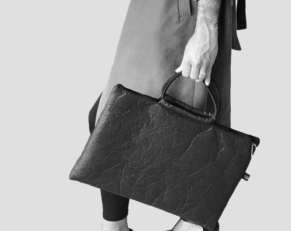 Large handbag messenger bag bag for laptop briefcase black made of PINATEX® Unisex|BAG # 105