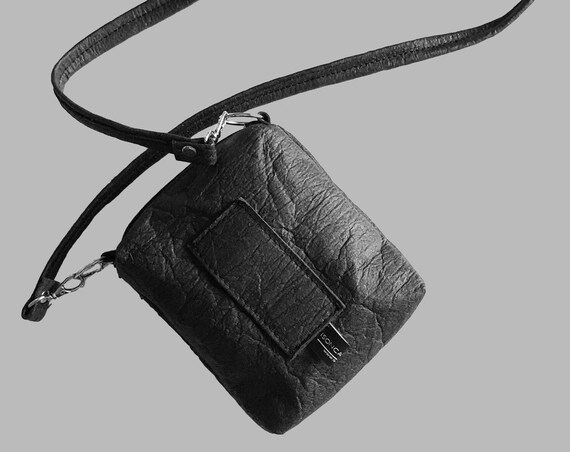 Handbag belt pouch bag for the belt black, red or brown from PINATEX® gift unisex |BAG # 14