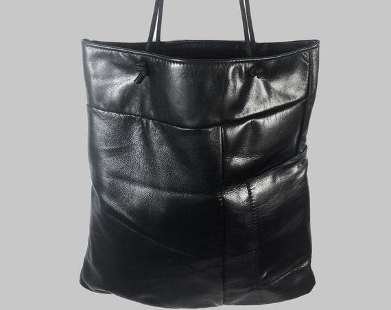Black Leather Bag Shopping Bag shopping bag black gift for women ∣UNIKAT