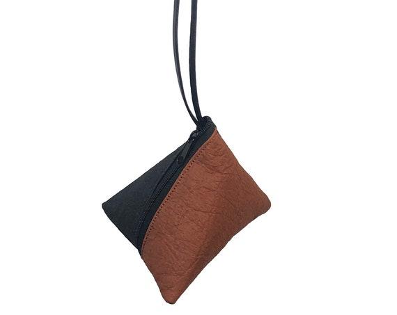 PYRAMID Bag Pyramid CLUTCH handbag black cognac minimalist design ∣BAG#109