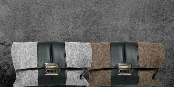 Clutch gray 100% wool felt with bicycle tube -11
