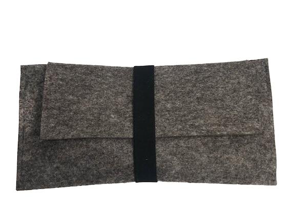 Clutch gray 100% wool felt with elastic band -10 single piece