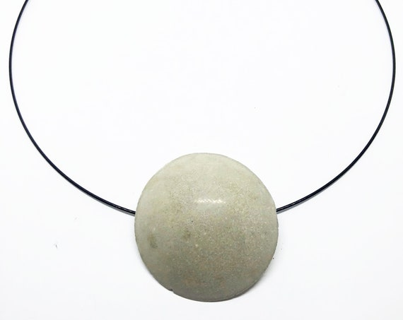 Choker Chain Necklace Concrete Jewelry with Large Round Pendant Concrete Minimalist Design Gift for Women