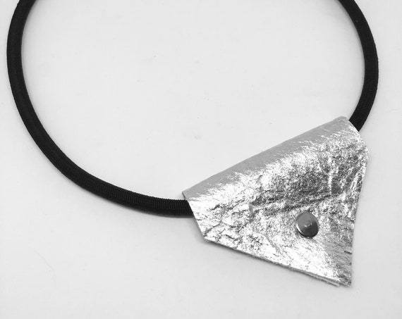 Fashion Jewelry Necklace Necklace with Pinatex® riveted pendant Chain with magnetic clasp silver, black or gold
