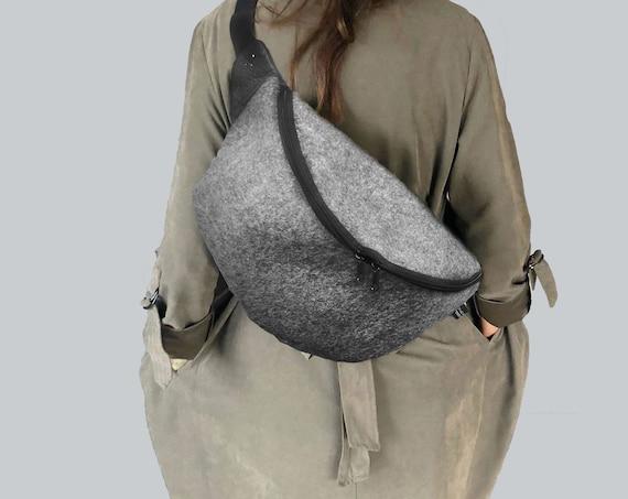 Handbag CROSBODY bag belt bag made of wool felt 100% merino wool 3 sizes gift Unisex∣BAG#122
