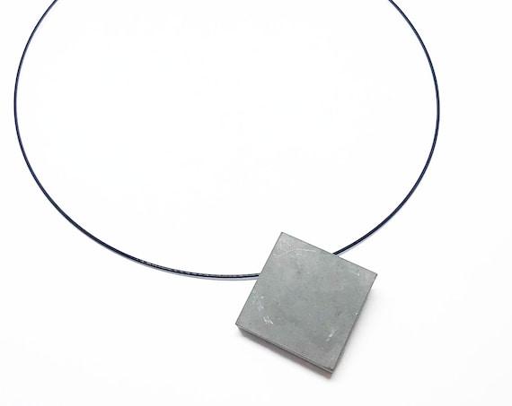Choker Chain Necklace Concrete Jewelry with square Concrete Minimalist Design Gift for Women