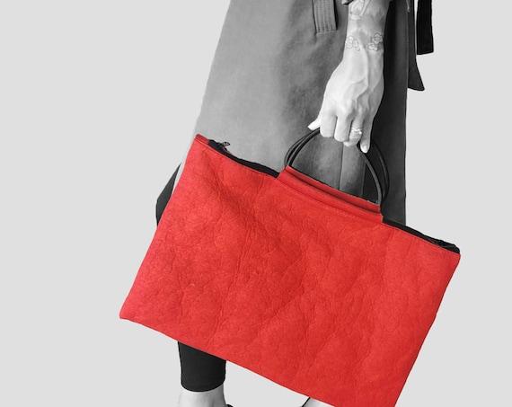 Large handbag messenger bag bag for laptop briefcase red, coffee brown or black made of PINATEX® Unisex BAG # 105