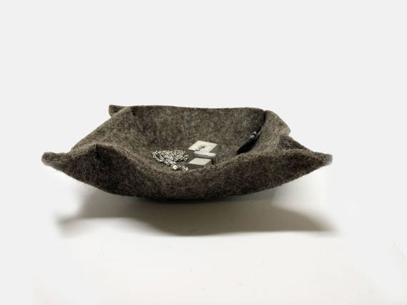 Felt bowl ring bowl storage for jewelry and other things dark or light gray 100% wool felt