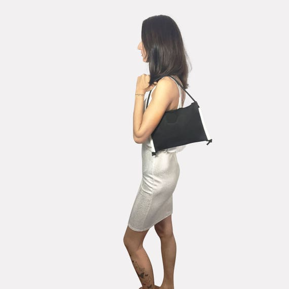 LARGO 2.0 black Handbag white from JACRON evenigbag clutch ∣BAG#84