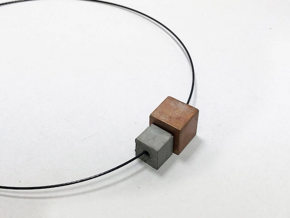 Choker Chain Necklace Concrete Jewelry Copper Concrete Minimalist Design gift for women
