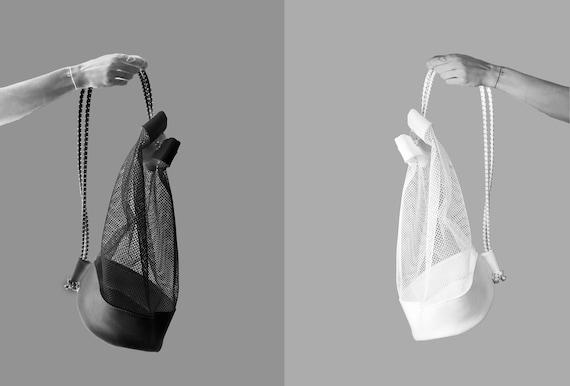 "Designer bag ""ROUND"" net + artificial leather white or black ∣BAG#100"