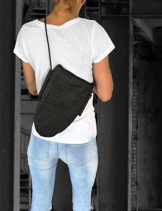 Simple handbag Eggbag black or brown from PINATEX® gift for women |BAG # 91