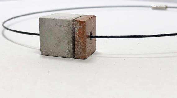 Choker Chain Necklace concrete jewelry gray made of concrete with copper element